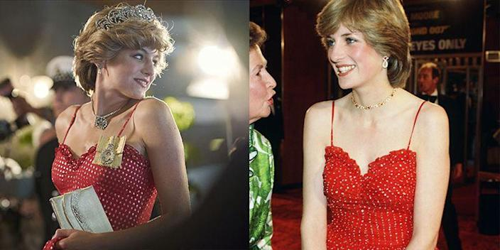 """<p>While posing for photographers during her royal tour of Australia and New Zealand, actress Emma Corrin donned a dress similar to one Princess Diana wore in real life a few years prior to the tour. The show opted for flashier accessories for the look.</p><p><strong>RELATED</strong>: <a href=""""https://www.goodhousekeeping.com/life/inspirational-stories/g2572/princess-diana-photos/"""" rel=""""nofollow noopener"""" target=""""_blank"""" data-ylk=""""slk:A Look Back at Princess Diana's Life in Photos"""" class=""""link rapid-noclick-resp"""">A Look Back at Princess Diana's Life in Photos</a></p>"""