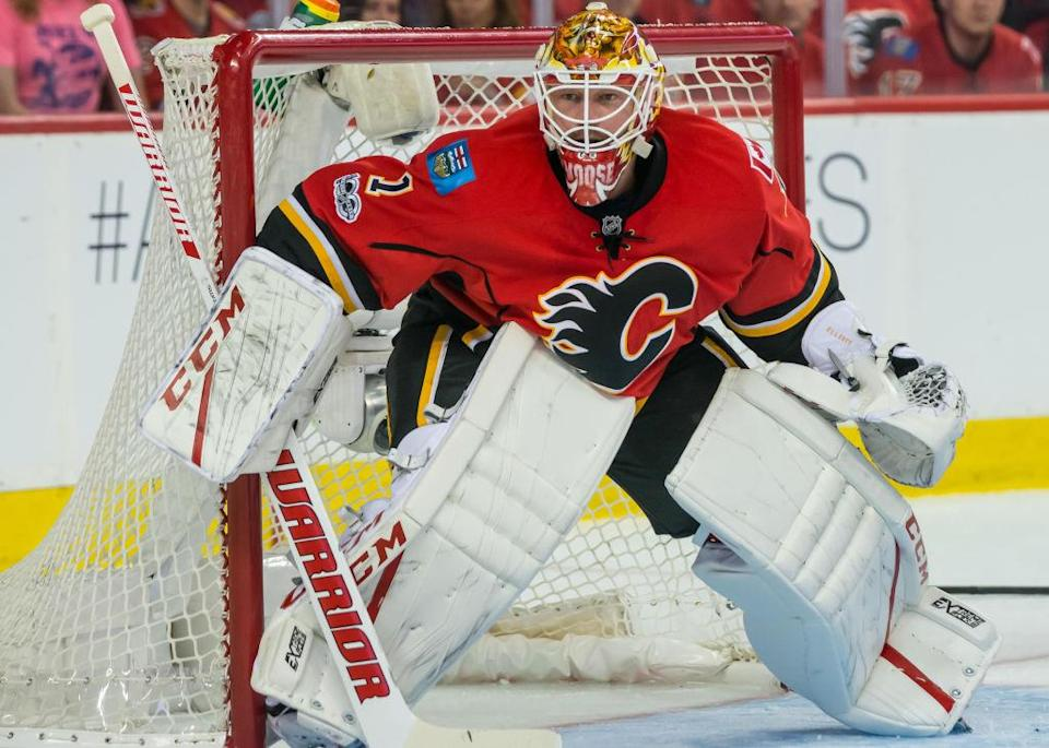 CALGARY, AB – APRIL 17: Calgary Flames Goalie Brian Elliott (1) on guard during a game during game 3 of the first round of the Stanley Cup Playoffs between the Anaheim Ducks and the Calgary Flames on April 17, 2017, at the Scotiabank Saddledome, in Calgary AB. (Photo by Jose Quiroz/Icon Sportswire via Getty Images)
