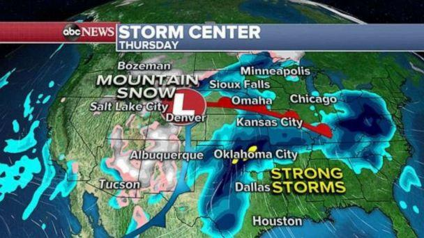 PHOTO: Late Thursday and Friday, the storm will then race off to the north and east and likely bring a round of snow to parts of the upper Midwest. (ABC News)