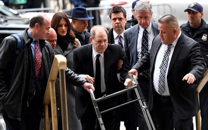 Harvey Weinstein arriving at court in New York on Monday, for the first day of his trial - AFP or licensors