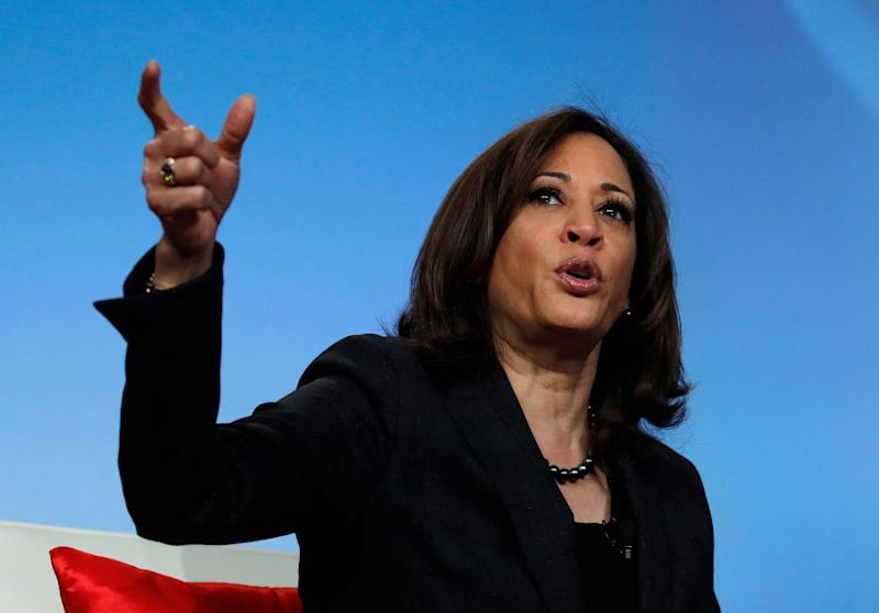 Sen. Kamala Harris, D-Calif., speaks at the Black Enterprise Women of Power Summit, Friday, March 1, 2019, in Las Vegas. (AP Photo/John Locher)