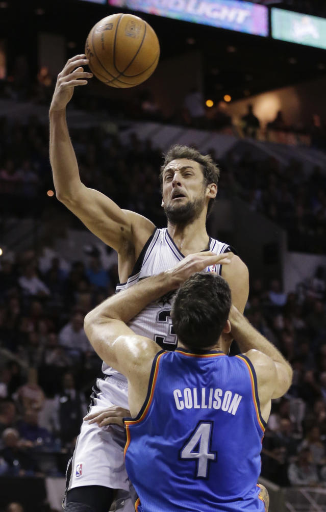 San Antonio Spurs' Marco Belinelli (3), of Italy, crashes into Oklahoma City Thunder's Nick Collison (4) as he tries to score during the first half of an NBA basketball game, Wednesday, Jan. 22, 2014, in San Antonio. (AP Photo/Eric Gay)