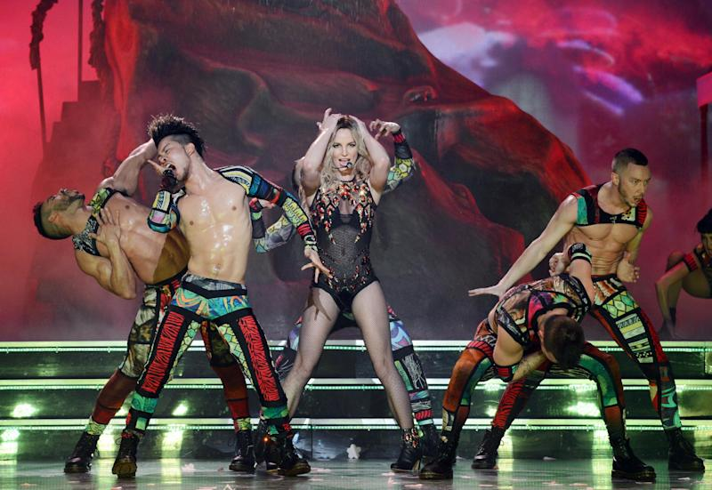 "In this photo provided by Caesars Entertainment, Britney Spears rehearses ""Britney: Piece of Me"" at Planet Hollywood Resort & Casino on Thursday, Dec. 26, 2013, in Las Vegas. Spears began her two-year a Las Vegas casino residency Friday. (AP Photo/Caesars Entertainment, Denise Truscello)"