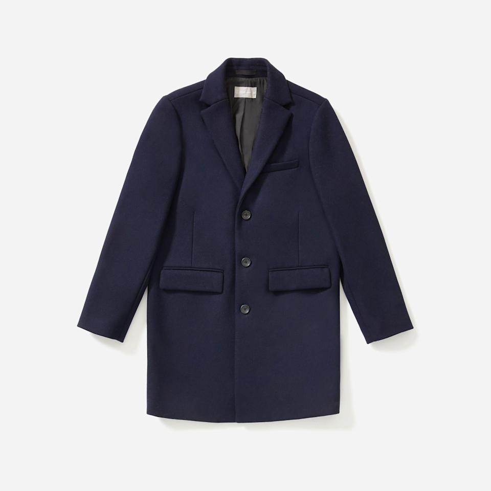 """<p><strong>everlane</strong></p><p>everlane.com</p><p><strong>$298.00</strong></p><p><a href=""""https://go.redirectingat.com?id=74968X1596630&url=https%3A%2F%2Fwww.everlane.com%2Fproducts%2Fmens-rewool-overcoat-navy&sref=https%3A%2F%2Fwww.esquire.com%2Fstyle%2Fmens-fashion%2Fg35086246%2Feverlane-end-of-year-sale-2020%2F"""" rel=""""nofollow noopener"""" target=""""_blank"""" data-ylk=""""slk:Shop Now"""" class=""""link rapid-noclick-resp"""">Shop Now</a></p>"""