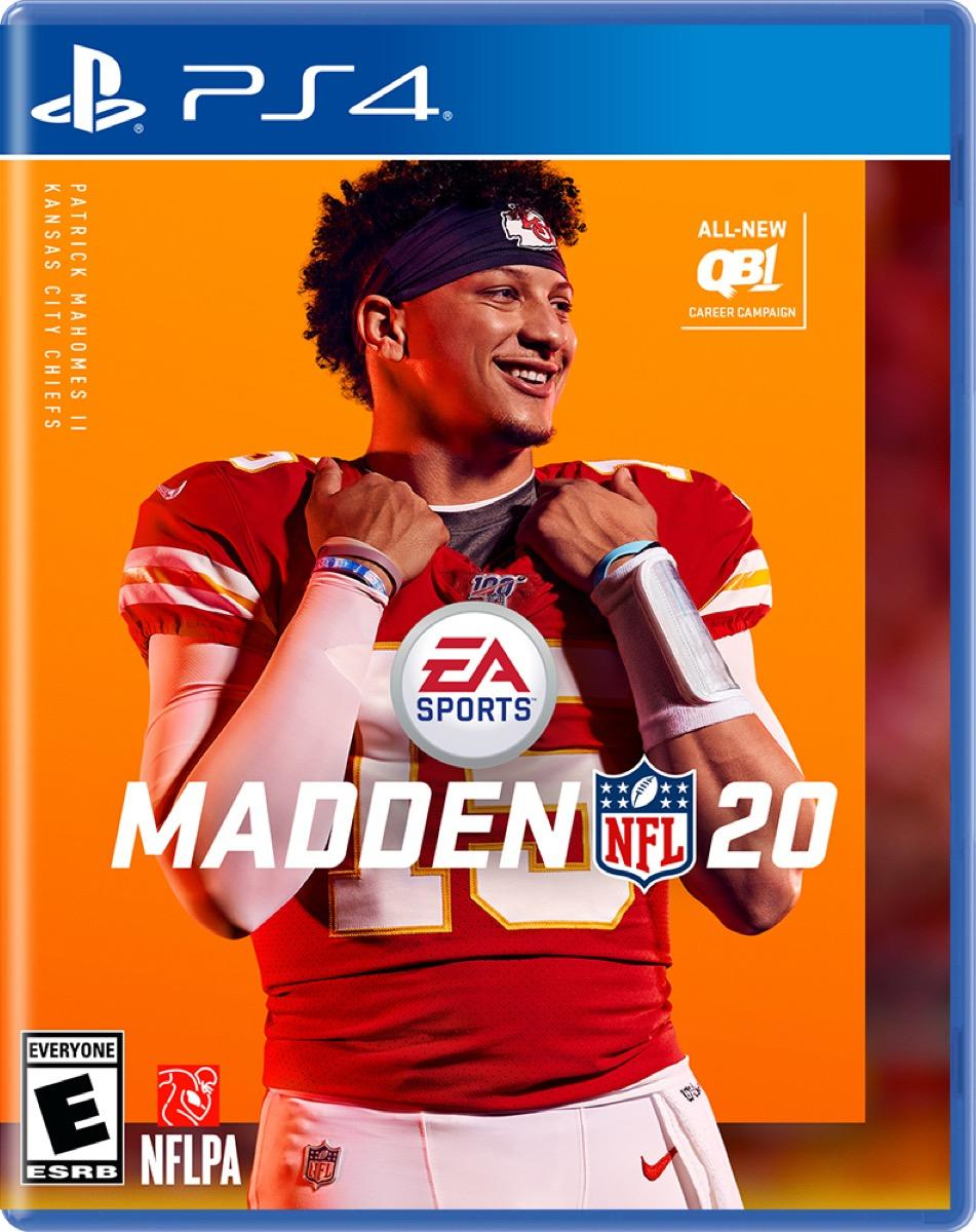 Madden 20 for PS4 with Patrick Mahomes on the cover