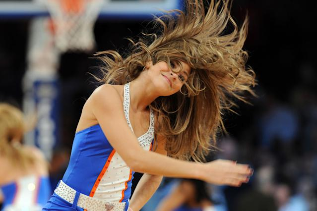 Feb 13, 2013; New York, NY, USA; The Knicks City Dancers perform during the second half against the Toronto Raptors at Madison Square Garden. The Raptors won the game 92-88. (Joe Camporeale-USA TODAY Sports)