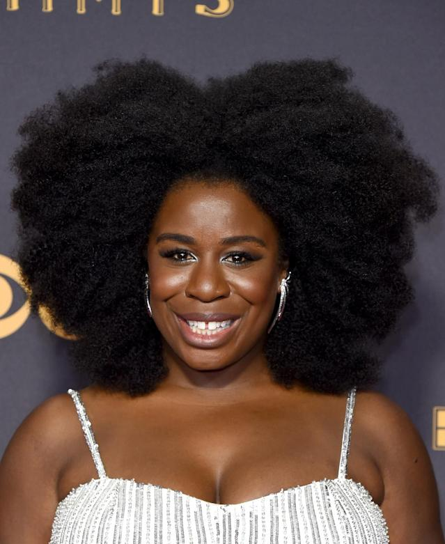 <p>Uzo Aduba slayed the red carpet with a volumious Afro. (Photo: John Shearer/WireImage) </p>