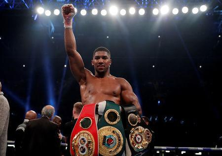 Boxing - Anthony Joshua vs Carlos Takam - IBF & WBA World Heavyweight Titles - Principality Stadium, Cardiff, Britain - October 28, 2017 Anthony Joshua celebrates at the end the fight Action Images via Reuters/Andrew Couldridge