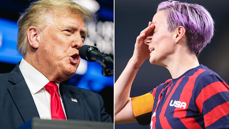Pictured here, Donald Trump speaks at a rally and Megan Rapinoe looks frustrated on the right.