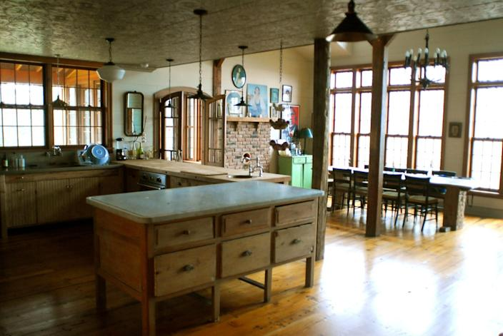 The kitchen was largely left as-is for filming.