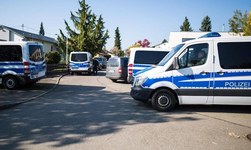 Police in Rottenburg am Neckar following the arrest of a German-Russian man in connection with the bomb attack on Borussia Dortmund's team bus.