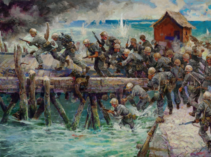 A painting by Charles Waterhouse, who spent the last eight years of his life painting all of the Marine Corps Medal of Honor recipients in action and in portraits. / Credit: Valor in Action: The Medal of Honor Paintings of Colonel Charles Waterhouse