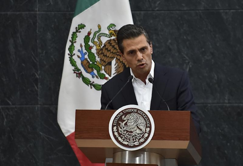 Mexico's President Enrique Pena Nieto delivers a message to the press after a meeting with parents of 43 missing students at the Los Pinos presidential palace in Mexico City, October 29, 2014 (AFP Photo/Yuri Cortez)
