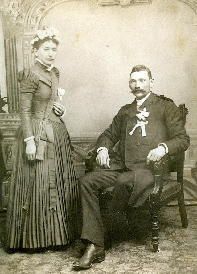 "<p>""These were marriages of convenience, survival and financial sense; young healthy people in the late 19th century were expected to get married because the clockwork of society revolved around the institution."" (Pictured: Vintage wedding portraits from ""I Do, I Do"" exhibit) </p>"