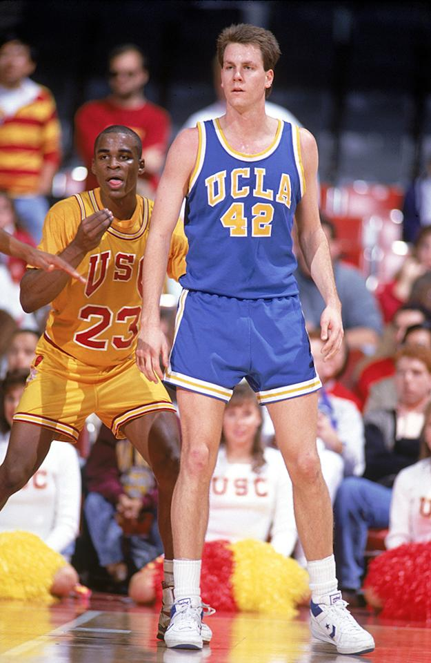 Don Maclean of the UCLA Bruins looks on during a 1990 season game against the USC Trojans.