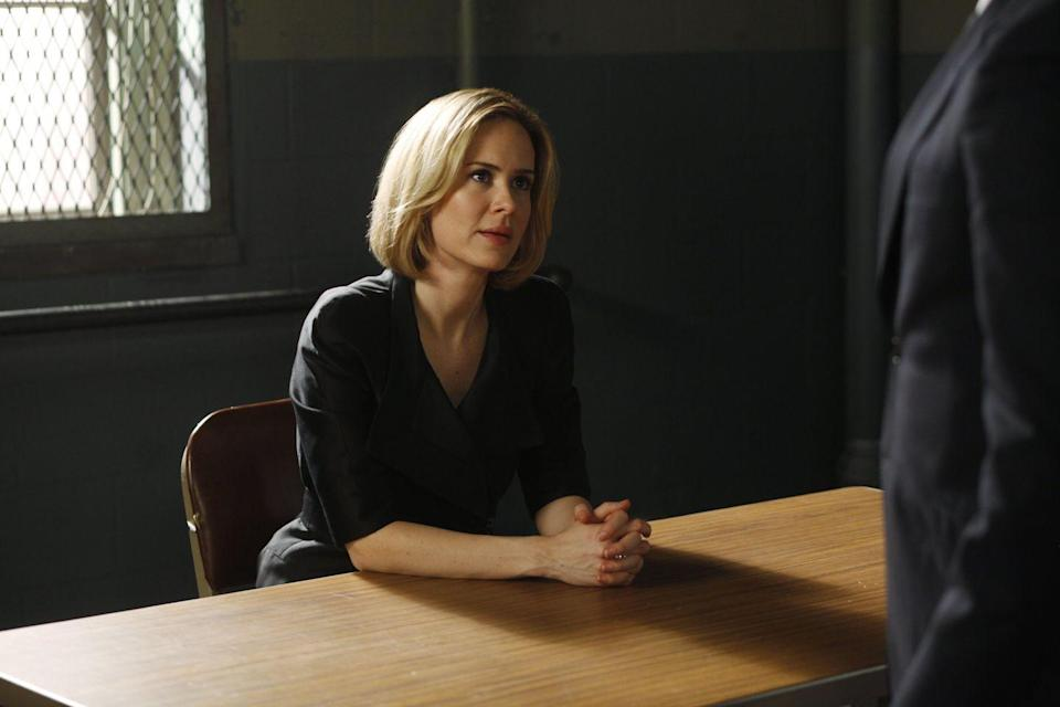 "<p>Paulson's very first acting role was on the original <em>Law & Order</em> in 1994, and she returned to her roots during season 11, in the <em>SVU</em> episode ""Shadow."" Paulson played Anne Gillette, the daughter of a wealthy couple that was mysteriously murdered. Gillette's dramatic claims of a being stalked turned out to be a distraction from the fact that her hands were dirty in the death of her parents.</p>"