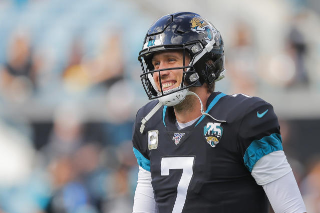 "The <a class=""link rapid-noclick-resp"" href=""/nfl/teams/chicago/"" data-ylk=""slk:Bears"">Bears</a> traded for journeyman quarterback Nick Foles after another dismal season from <a class=""link rapid-noclick-resp"" href=""/nfl/players/30115/"" data-ylk=""slk:Mitchell Trubisky"">Mitchell Trubisky</a>. (Photo by James Gilbert/Getty Images)"
