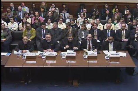 Seated in the front row: the panelists at Thursday's hearing about the Obama administration's contraception plan vs. religious freedom.