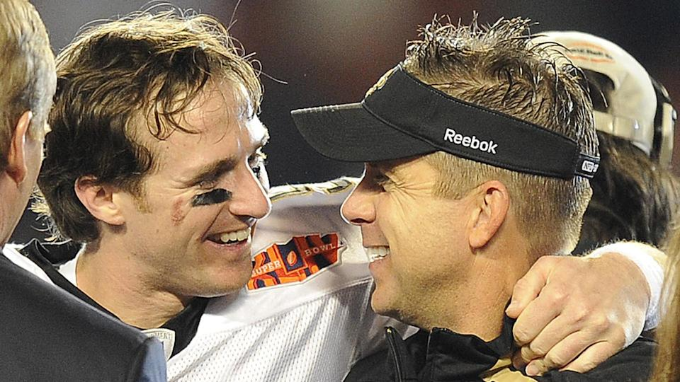 Mandatory Credit: Photo by John G Mabanglo/EPA/Shutterstock (7717482g)New Orleans Saints Quarterback Drew Brees (l) and Head Coach Sean Payton (r) Celebrate After the Saints Defeated the Colts 31-17 in Super Bowl Xliv at Sun Life Stadium in Miami Florida Usa 07 February 2010 United States MiamiUsa American Football Super Bowl - Feb 2010.