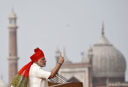 Indian PM Modi addresses the nation from the historic Red Fort during Independence Day celebrations in Delhi