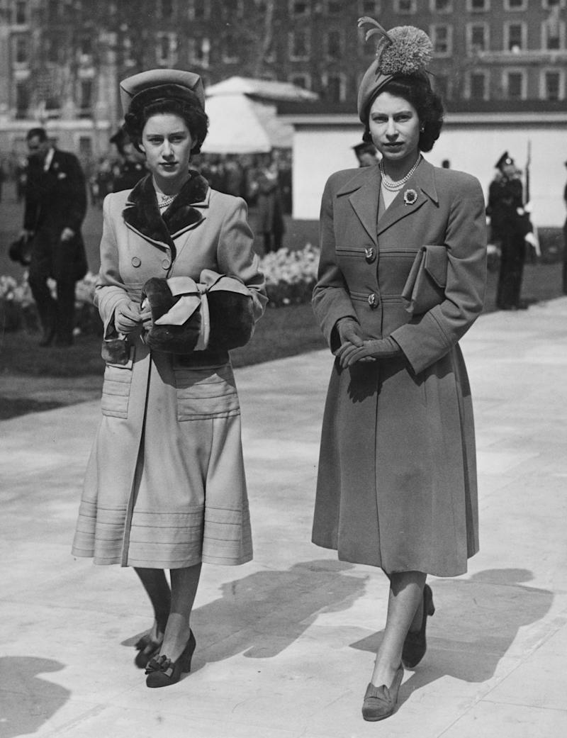 Princess Margaret (1930- 2002, left) and her sister, Princess Elizabeth (later Queen Elizabeth II) leaving Grosvenor Square, London, after the unveiling of the memorial to American President Franklin Delano Roosevelt, 10th April 1948. (Photo by Fox Photos/PNA//Hulton Archive/Getty Images)