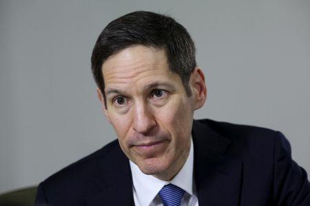 FILE PHOTO: Thomas Frieden, director of U.S. Centers for Disease Control and Prevention, listens during an interview with Reuters at the Puerto Rico Health Department in San Juan
