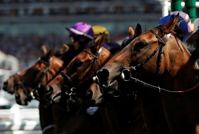 Horse Racing - Royal Ascot - Ascot Racecourse, Ascot, Britain - June 21, 2018 General view during the start of the 3.40 Ribblesdale Stakes Action Images via Reuters/Andrew Boyers