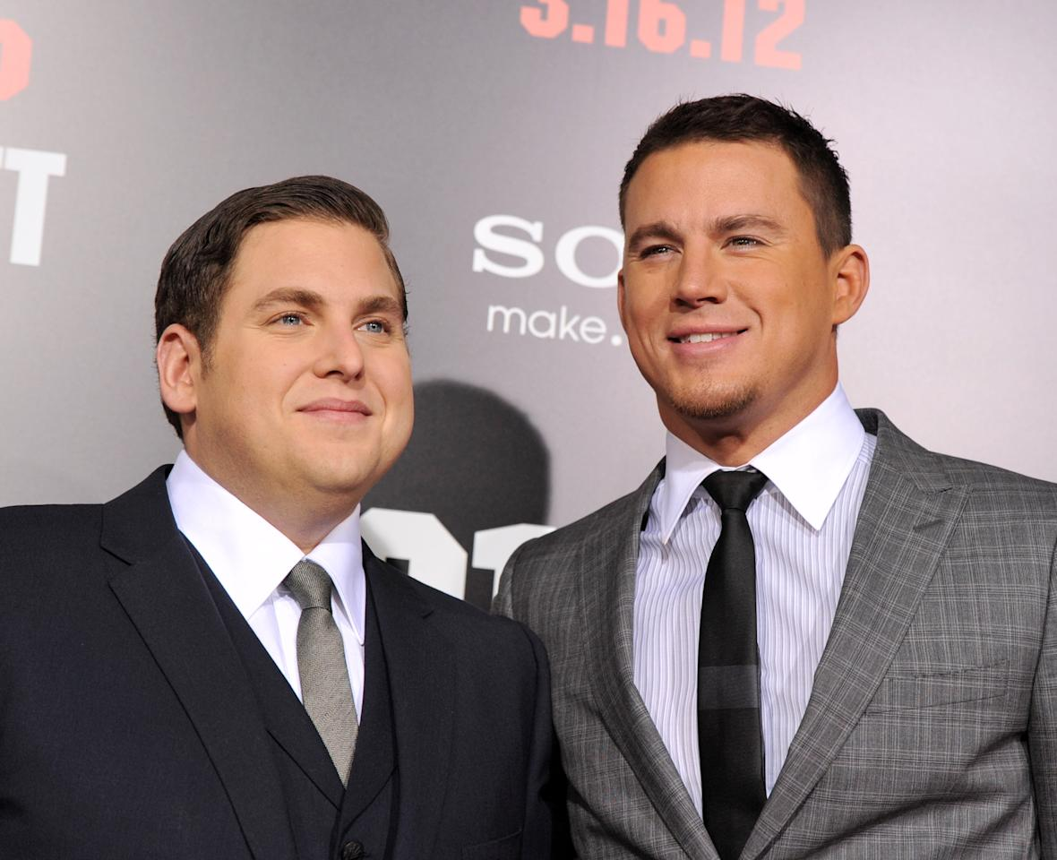 """LOS ANGELES, CA - MARCH 13:  Actors Jonah Hill (L) and Channing Tatum arrive at the premiere of Columbia Pictures' """"21 Jump Street"""" at the Grauman's Chinese Theater on March 13. 2012 in Los Angeles, California.  (Photo by Kevin Winter/Getty Images)"""