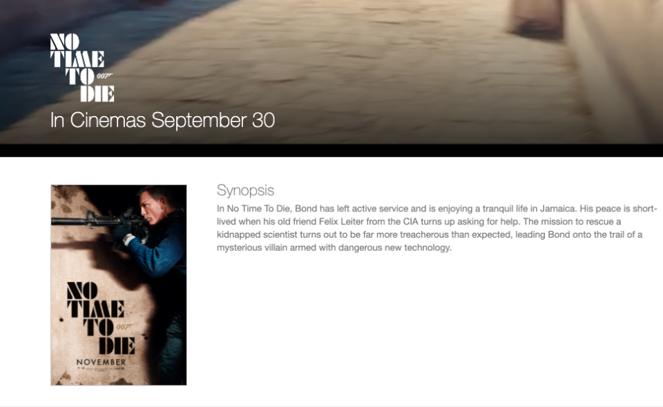 Universal's No Time To Die microsite has its release date listed for 30 September. (Universal Pictures UK)