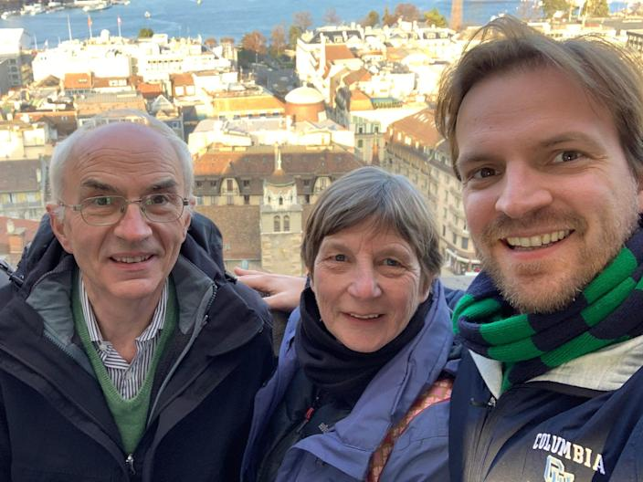 Peter Vanham (right) poses with his mother, Ann Kellens, and his father, Guido Vanham.