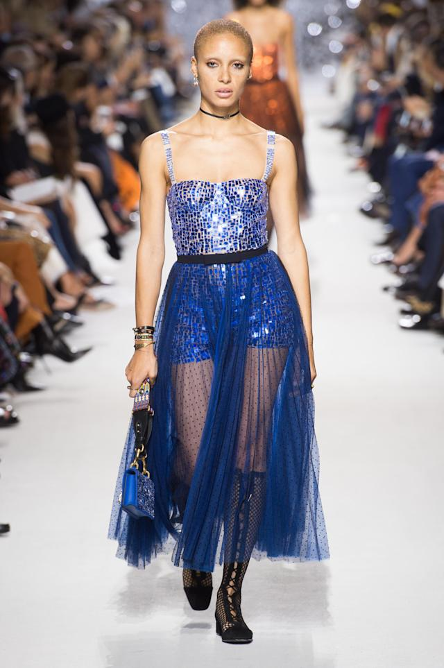 <p><i>Model Adwoa Aboah wears a blue sequin tulle dress from the SS18 Dior collection. (Photo: ImaxTree) </i></p>