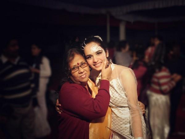 A childhood picture of former Miss World Manushi Chhilar with her school dance teacher
