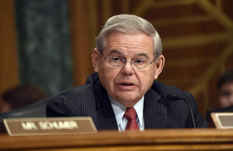 FILE - In this Jan. 27, 2015 file photo, Sen. Robert Menendez, D-N.J. speaks on Capitol Hill in Washington. It flew through the Republican-run House in 2012, and a year later 79 of the Democratic-led Senate's 100 members embraced it. With Republicans now controlling both chambers of Congress, the chances for repealing the 2.3 percent tax on medical devices are better than ever. Yet abolishing the tax won't be easy, even though Republicans rank it a top priority and are backed by Democrats from states that rely on the industry for jobs.  (AP Photo/Susan Walsh)