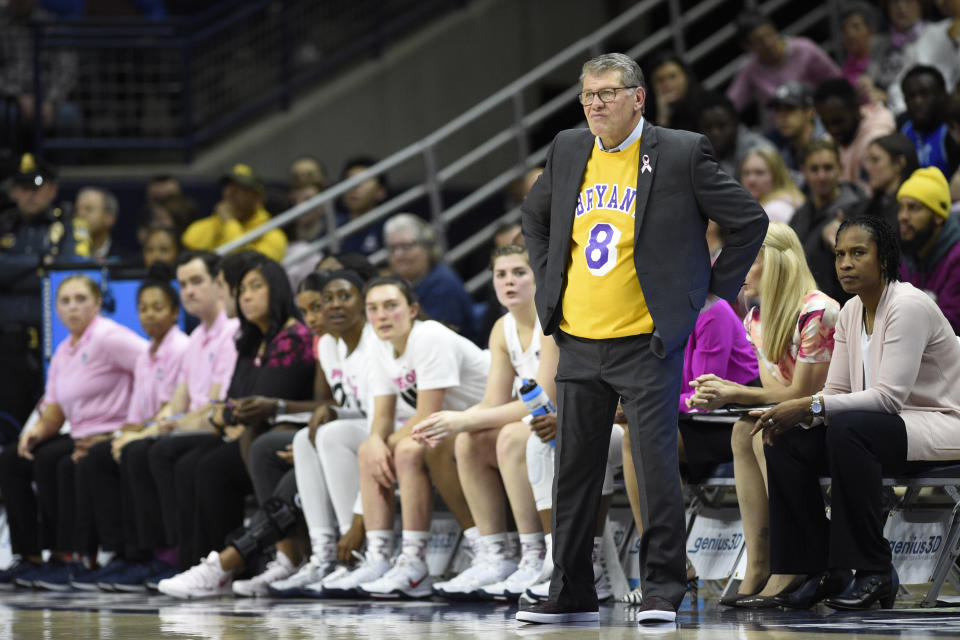 Connecticut head coach Geno Auriemma watches play in the first half of an NCAA college basketball game against Oregon, Monday, Feb. 3, 2020, in Storrs, Conn. (AP Photo/Jessica Hill)