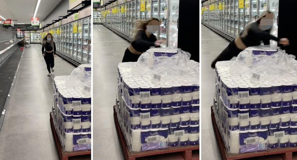A female TikToker has been slammed over a 'stupid' toilet paper stunt in a Sydney Woolworths. Source: TikTok