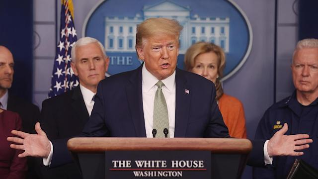 President Trump at a coronavirus briefing at the White House on Tuesday. (Jonathan Ernst/Reuters)
