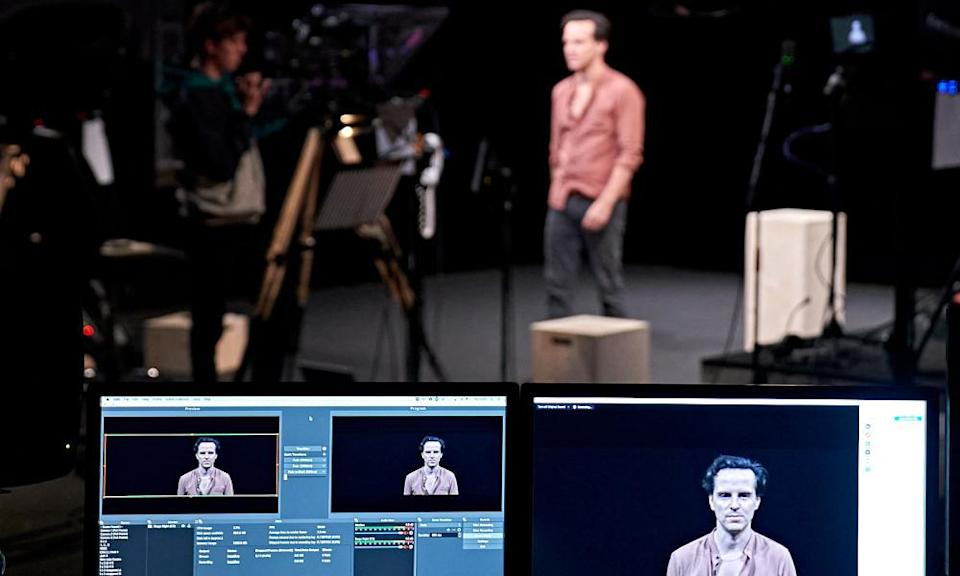 Pandemic premiere … Andrew Scott rehearses for the livestreamed Three Kings.