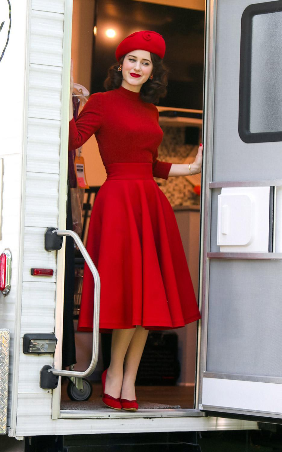 <p>Brosnahan looked ready for action as she emerged from her trailer in a stunning red ensemble on June 10. </p>