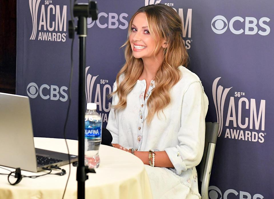 <p>Carly Pearce takes the spotlight at the 56th Academy of Country Music Awards' virtual radio row at the Gaylord Opryland Hotel on Wednesday in Nashville.</p>