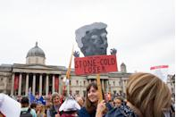 Protesters in Trafalgar Square, London, on the second day of the state visit to the UK by US President Donald Trump. Photo credit should read: Katie Collins/EMPICS