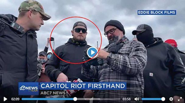 PHOTO: A video grab included in criminal complaint identifies Ethan Nordean as the man in the red circle in footage of the Capitol siege, Jan. 6, 2021. (FBI)