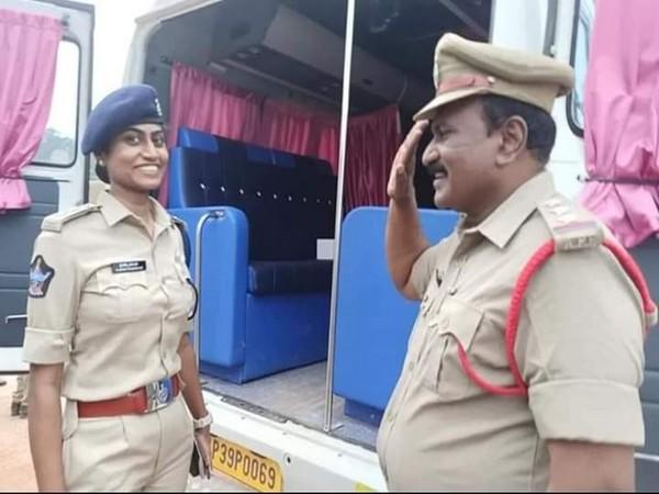 Picture of father saluting her DSP daughter in Andhra's Tirupati.
