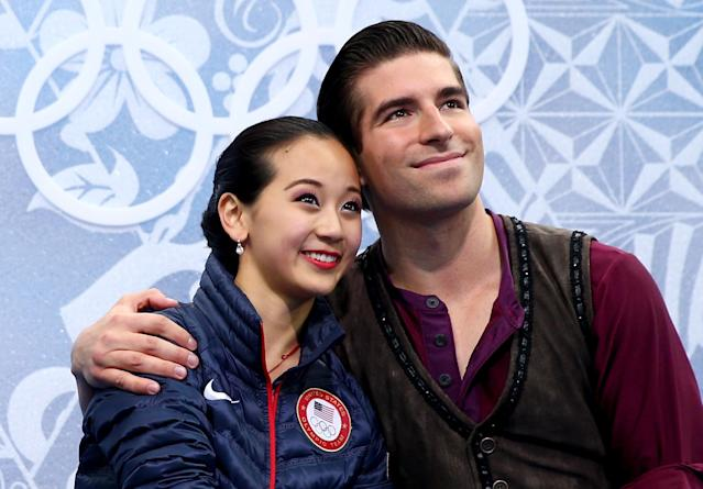 SOCHI, RUSSIA - FEBRUARY 11: Felicia Zhang and Nathan Bartholomay of the United States react after they compete during the Figure Skating Pairs Short Program on day four of the Sochi 2014 Winter Olympics at Iceberg Skating Palace on February 11, 2014 in Sochi, Russia. (Photo by Paul Gilham/Getty Images)