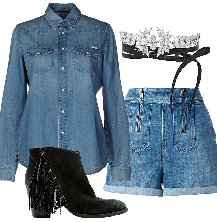 "<p><strong>Shop the look:</strong> Mother denim shirt, $222; <a rel=""nofollow"" href=""https://click.linksynergy.com/fs-bin/click?id=93xLBvPhAeE&subid=0&offerid=439137.1&type=10&tmpid=2678&RD_PARM1=http%3A%2F%2Fwww.yoox.com%2FUS%2F42532027%2Fitem%3Fdept%3Dwomen%2526utm_campaign%3DJ84DHJLQkR4%2526utm_content%3D15%2526utm_medium%3Daffiliazione%2526utm_source%3Dlinkshare_us%2526ranMID%3D24285%2526ranEAID%3DJ84DHJLQkR4%2526ranSiteID%3DJ84DHJLQkR4-ETe9YKhWQOSxMwyl_ZfTNg%2526tp%3D11333&u1=ISFASHIONDENIMBD"">yoox.com</a>. Tommy Hilfiger denim shorts, $120; <a rel=""nofollow"" href=""https://click.linksynergy.com/fs-bin/click?id=93xLBvPhAeE&subid=0&offerid=255436.1&type=10&tmpid=10034&RD_PARM1=https%253A%252F%252Fwww.farfetch.com%252Fshopping%252Fwomen%252Ftommy-hilfiger-denim-shorts--item-11963554.aspx%253Ffsb%253D1%2526storeId%253D10016%2526utm_source%253DJ84DHJLQkR4%2526utm_medium%253Daffiliate%2526utm_campaign%253DLinkshareus%2526utm_content%253D10%2526utm_term%253DUSNetwork&u1=ISFASHIONDENIMBD"">farfetch.com</a>. Fallon choker, $375; <a rel=""nofollow"" href=""http://fallonjewelry.com/product/monarch-leather-wrap-choker/"">fallonjewelry.com</a>. Dolce Vita booties, $119 (originally $200); <a rel=""nofollow"" href=""https://www.shoptiques.com/products/dolce-vita-fringe-side-bootie/226118?signalSource=shopstyle&utm_source=shopstyle&utm_medium=affiliate&utm_campaign=linkshare_us&utm_content=251680&pmrw=1&rcid=106&utm_medium=affiliate&utm_source=J84DHJLQkR4&utm_campaign=Linkshare_10"">shoptiques.com</a>. </p>"