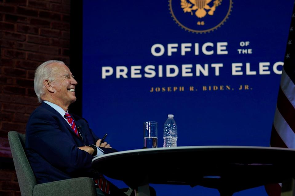 <p>Joe Biden has been declared the 'apparent winner' of the US election by a key federal agency</p> (AP)