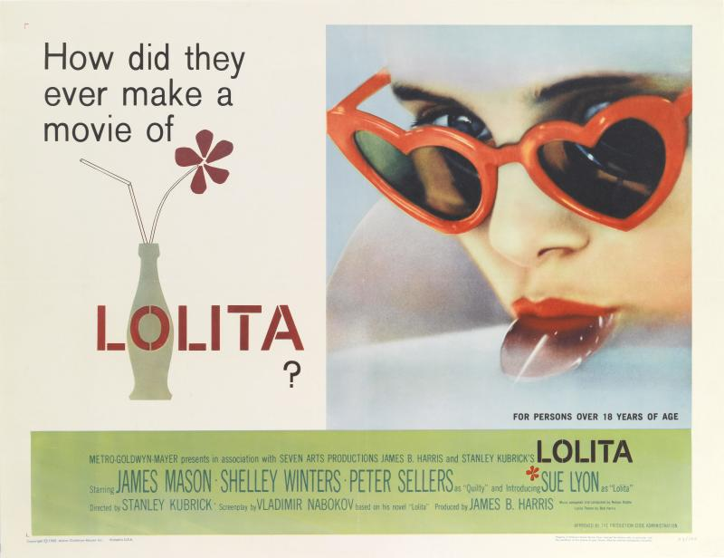 Actress Sue Lyon sucking a lollipop on a poster for the MGM movie 'Lolita', 1962. The movie was directed by Stanley Kubrick and based on the book by Vladimir Nabokov. (Photo by Movie Poster Image Art/Getty Images)