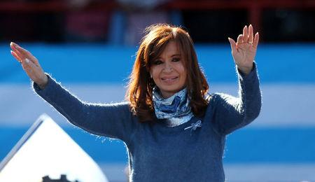 Former Argentine President Fernandez de Kirchner waves during a rally in Buenos Aires