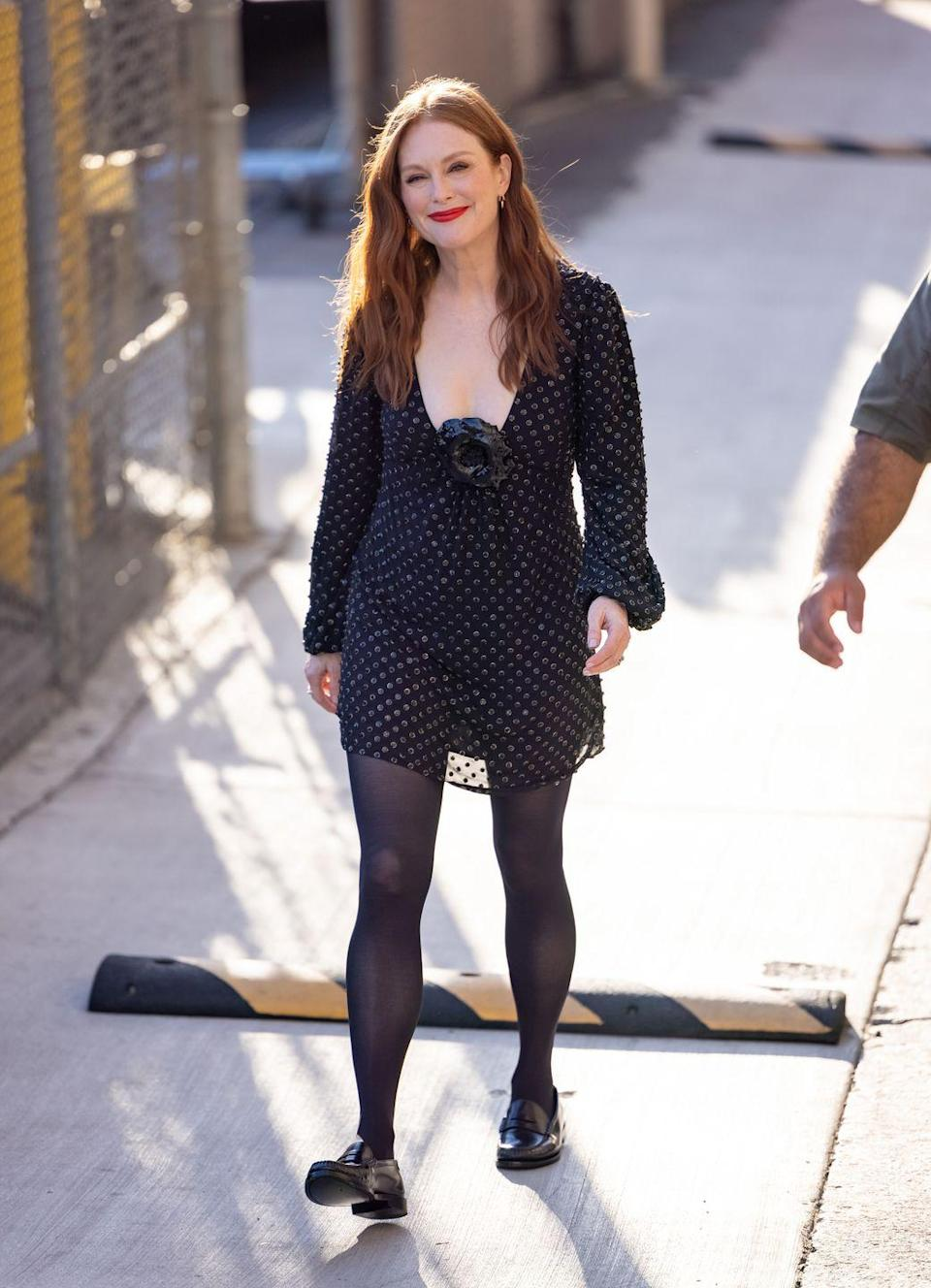 <p><strong>22 September</strong></p><p>The actress was seen arriving for an appearance on Jimmy Kimmel Live wearing a polka-dot Saint Laurent dress and loafers. </p>