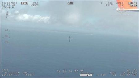 AMSA's (Australia Maritime Safety Authority) Challenger aircraft is in the air, supporting the international search effort for survivors from Kiribati ferry Butiraoi, near Kiribati, Central Pacific, January 31, 2018 in this still image taken from a video obtained on social media. AUSTRALIA MARITIME SAFETY AUTHORITY/ via REUTERS