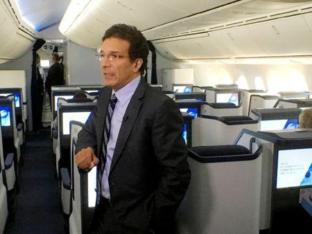 FILE PHOTO: Ihssane Mounir, then senior vice president of sales and marketing, northeast Asia, for Boeing, speaks aboard a new 787-9 ready for delivery to ANA Holdings Ltd at Boeing's delivery center in Everett, Washington, U.S. August 17, 2016/File Photo